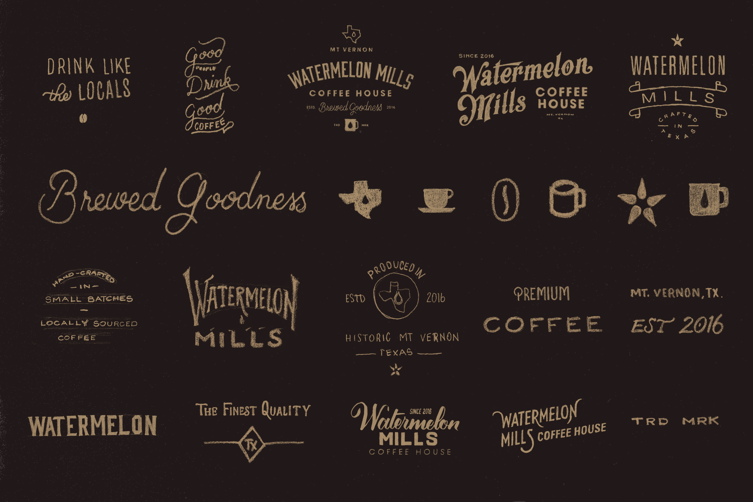 Watermelon Mills logo sketches
