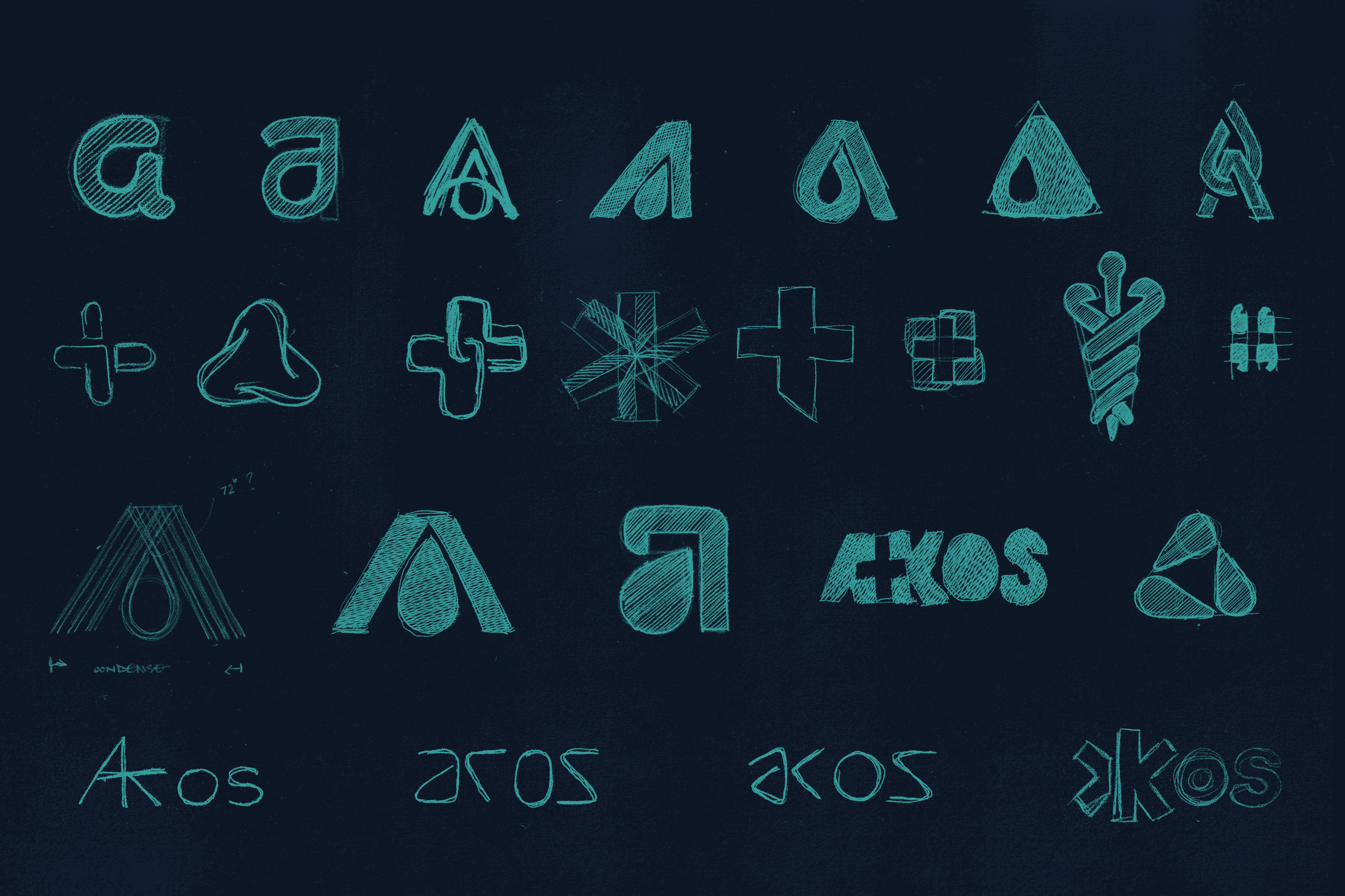 Akos logo sketches