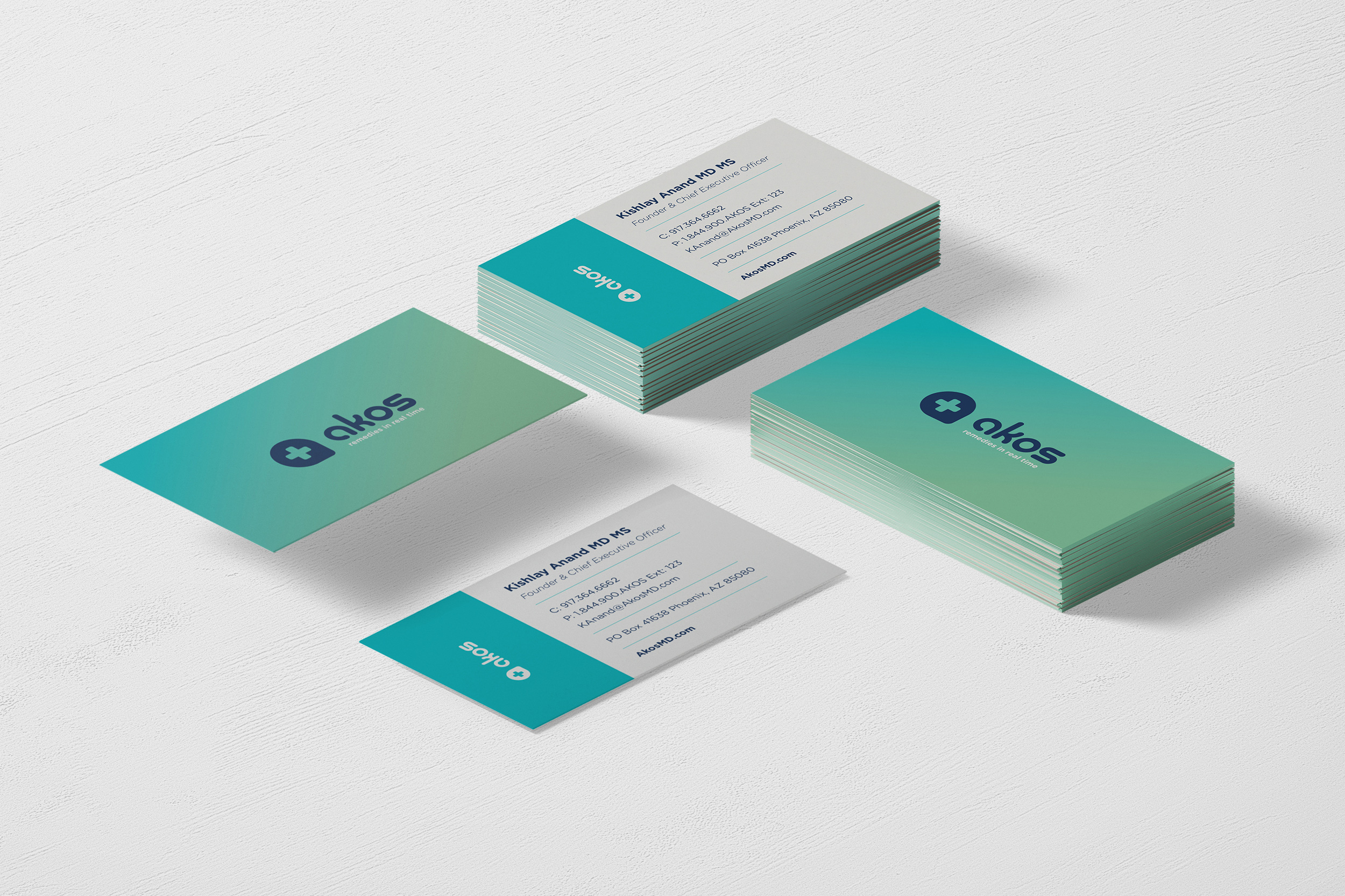 Akos branding collateral, business cards